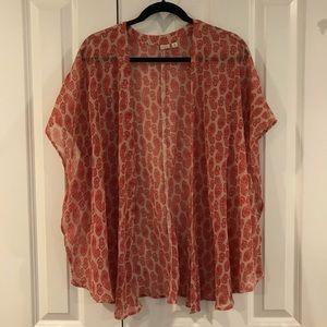 BP Scarlet Red/Tan Paisley Kimono